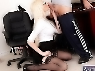 Gorgeous busty blonde worker girl gets fucked at her work and loves sucking cock.