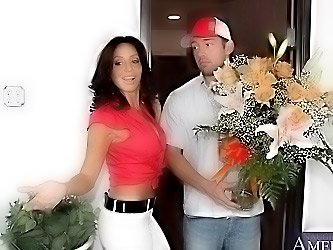 Sexy cougar Tara Holiday brings delivery boy in to suck his dick and ride it until they both orgasm.