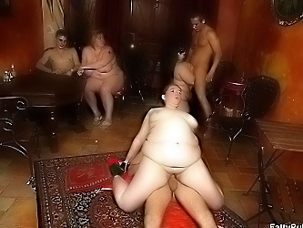 Bar orgy with fat cock whores