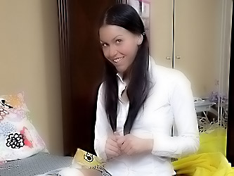 Schoolgirl with dark hair fucks