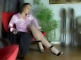 Paula massaging her nylon feet