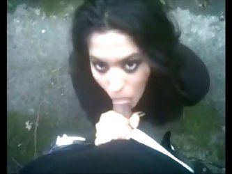 Iranian Girl sucking Dick outside