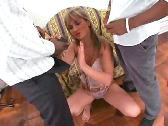 Young sucker on two black cocks