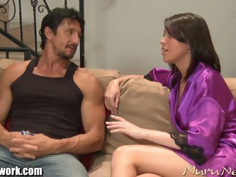 Brunette blowjob massage therapy