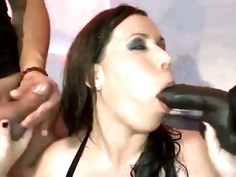 Brunette fucked and pissed on by gang