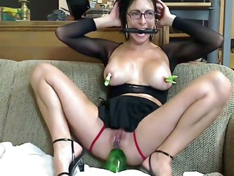 Gagged and bottle squatting