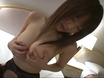 Cute japanese doll plays with huge tits and uses big pink dildo