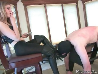 Mistress slaps his dick