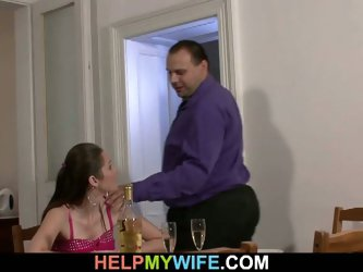Pizza guy fucking wife in front of husband