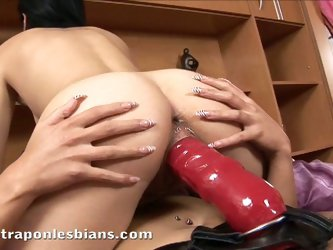 Amazing brunette chick fucked with huge strapon in lesbian action