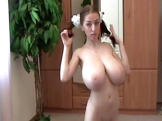 Busty merilyn showing off her amazing slim body and monster tits