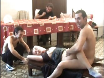 Innocent looking brunette slave tied for hardcore gang fucking