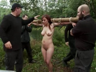 Nasty girls get humiliated and tortured in a forest