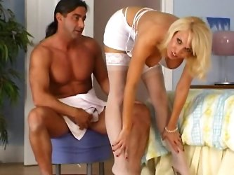 Hot skinny blonde fuck with muscular dick