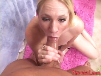 Titless blonde Aaliyah Jolie gets mouth-fucked and facialed indoors