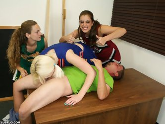 Bratty cheerleaders Barbi Katie and Hailey love a little competition. When they spot young Johnny they decide to have a little competition, to see if