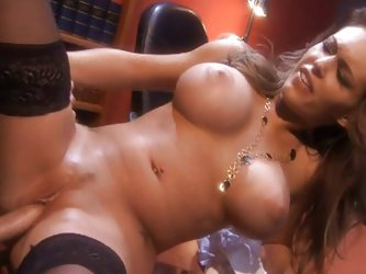 Couple;Vaginal Sex;Oral Sex;Brunette;Big Tits;Caucasian;Blowjob;Deepthroat;Stockings;Office;Secretary;Cum Shot