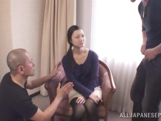 Asian amateur MILF in a threesome with two hot guys.
