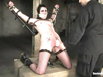 Redhead and brunette get tortured by turn in a basement