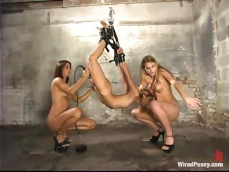 Strapon DP Action and Lots of Toying and Torture in Lesbian BDSM Foursome