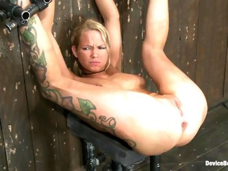 Rain DeGrey gets her cunt smashed by a fucking machine in BDSM video