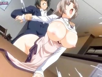 Sexy hentai secretary gets drilled on table