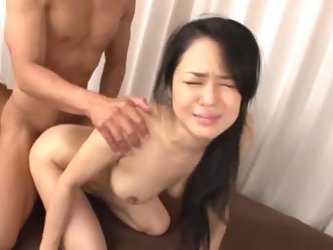 Cute Japanese girl Sora Aoi is getting naughty with two guys and pretends that she doesn't like it. The men play with her boobs and pussy and the