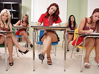 It was test day in school for this hot redhead girl and her classmates and they found out their teacher wasn't coming, only a substitute teacher.
