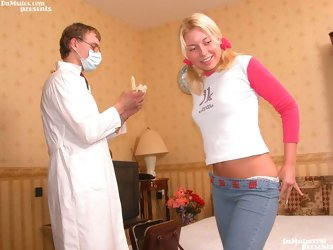 She was quite an angel in white panties. Joy was so virgin, that we doubted what to begin with :-) After the medical examination the doctor said she h