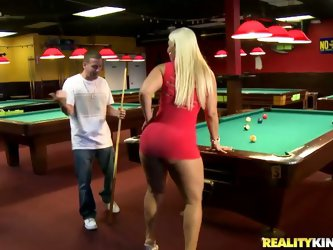 The pool hall was empty, so it was perfect to have a pool game with Bedeli Butland and bet that if she lost the match she would have to suck cock and