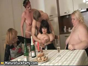 Four horny mature housewifes having