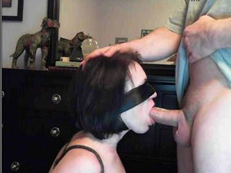 Blindfold and tied deepthroat