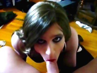 Tranny Swallows Cum