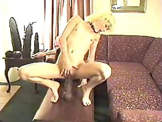 Flat chested skinny slut and huge dildo playing