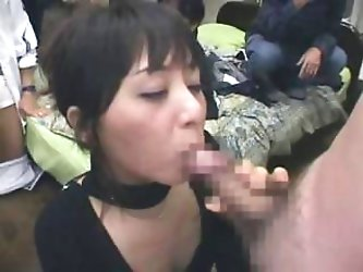 Yuka Osawa meets some of her fans and gets some cocks to eat and drink