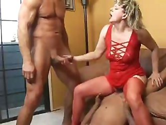 Wonderful whore in sexy red underwear can never refuse men for a fuck