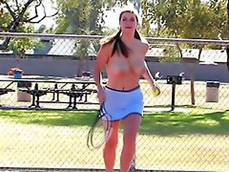 Handsome Brunette Babe Reveals Her Massive Hooters At Tenis Court