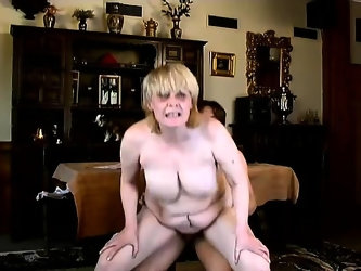 Buxom blonde nympho Tess gets her hairy beaver nailed deep and rough