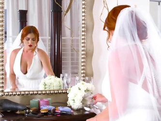 Ginger woman is in her wedding dress in this video and she is getting fucked by her fiance's best man. He is taking advantage of her uncertainty
