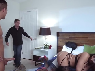 Black-haired goddess copulates with new lover in front of tied up ex-husband who very soon storms out of bedroom. They continue as this MILF wants to