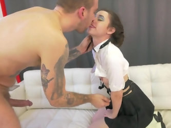 Alluring young lady Lucie Cline hooks up with a handsome porn stud Bryan Gozzling and enjoys his thick schlong to the maximum. She gets deethroated an