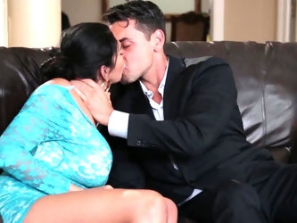 Sexual fantasies of brunette hottie Missy Martinez become real with help of handsome gentleman. He gives her a tender kiss on leather couch and can&am