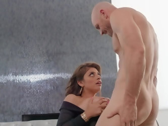 Cunning bald womanizer thrusts cock into trimmed snatch of smiley super-sexy Latina love with smokin' hot huge melons under the pretext of his bi