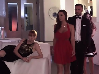 Chick's hot body is being wrapped in red rope and she is being used as a sex slave in this bondage party. The horny crowd is watching as that dud