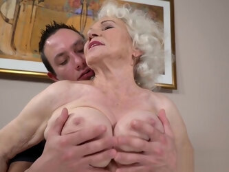 Stud ploughs granny's hairy cunt