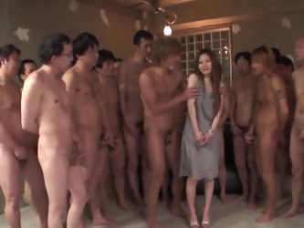 This poor little thing is all alone and surrounded by filthy Japanese men. The single girl is trying to satisfy as many of them as possible. Some of t