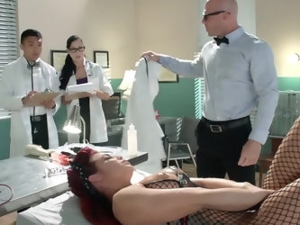 Red-haired chick Ryder Skye is happy to participate in medical experiment conducted by Dr. Johnny Sins. She sucks his big boner and gets pussy fucked