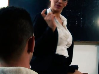 Slutty teacher with big boobs seduced college student for sex. She got her snatch polished before fucking hard in a missionary position.