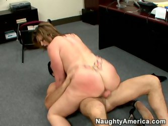 She is curly BBW porn star with fat belly and hanging off boobs getting fucked from behind. She can not believe she's got such luck that somebody