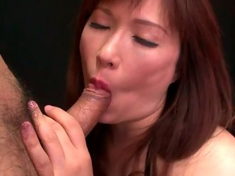 Torrid brunette girl sucks cock like tasty lollipop. She also polishes dude's balls. Then, curvaceous mommy stands on her all four taking hard di